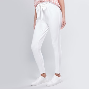 Full Length Plain Trousers with Pocket Detail and Tie Ups
