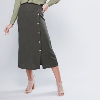 Textured A-Line Midi Skirt with Button Detail