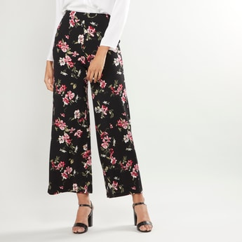 Floral Printed Mid-Rise Palazzo Pants with Pocket Detail