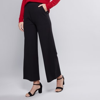 Wide Fit Plain Palazzo Pants with Elasticised Waistband with Pockets