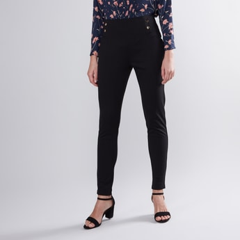 Full Length High Rise Ponte Pants with Button Detail