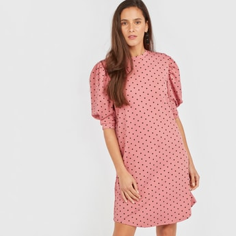 Polka Dotted High Neck Mini Shift Dress with Volume Sleeves