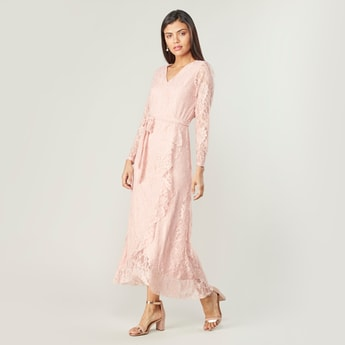 Textured A-line Midi Wrap Dress with Long Sleeves and Ruffle Detail