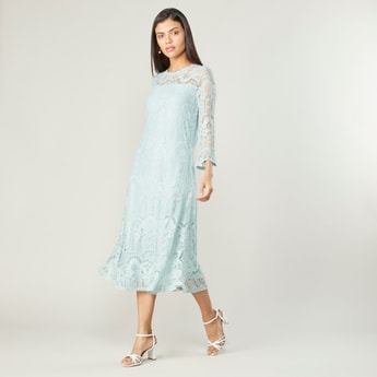 Lace Midi A-line Dress with Crew Neck and 3/4 Sleeves