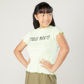 Ribbed T-shirt with Round Neck and Short Sleeves