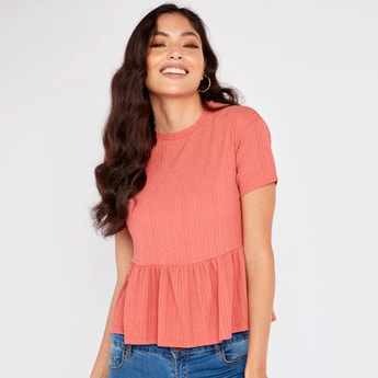Textured Round Neck Peplum Top with Short Sleeves
