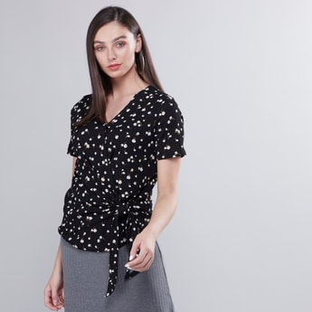 Floral Printed Wrapover Top with Tie Ups and Short Sleeves