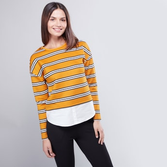 Striped 2-in-1 Top with Round Neck and Long Sleeves
