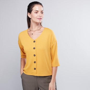 Buttoned V-Neck Top with 3/4 Sleeves