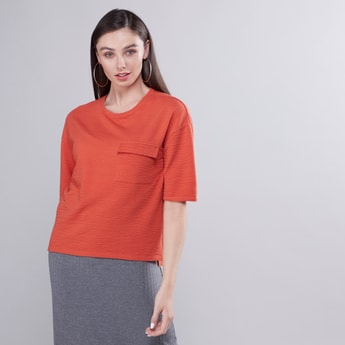 Textured T-shirt with Pocket Detail and Short Sleeves
