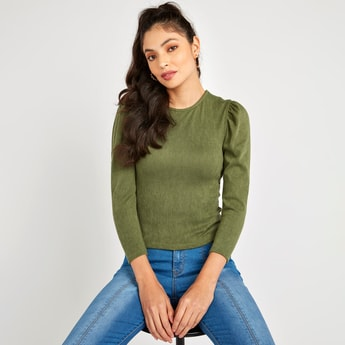 Textured Top with Round Neck and Long Volume Sleeves