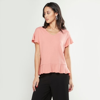 Textured V-neck T-shirt with Ruffled Sleeves
