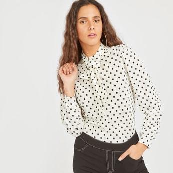 Polka Dot Print Top with Tie Ups