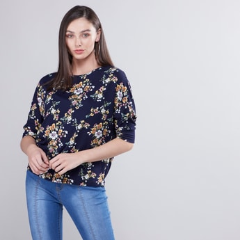 Floral Print Round Neck Boxy Top with 3/4 Sleeves