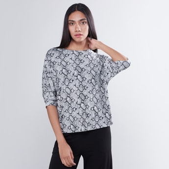 Animal Print Top with Round Neck and 3/4 Sleeves