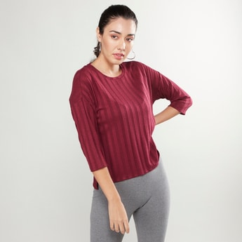 Boxy Ribbed Round Neck Top with 3/4 Sleeves