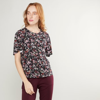 Floral Printed Round Neck Top with Short Sleeves
