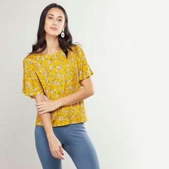 Floral Printed Round Neck Top with Angel Wing Sleeves