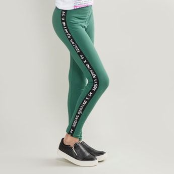 Tape Detail Leggings with Elasticised Waistband
