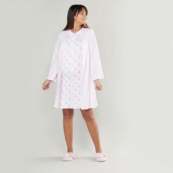 فستان نوم دون أكمام بطبعات للحوامل مع روب