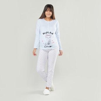 Printed Maternity Pyjamas with Elasticated Waistband