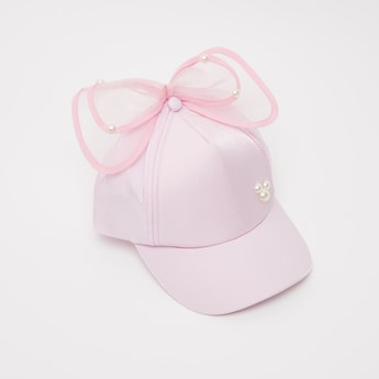Textured Cap with Bow Applique and Pearl Detail