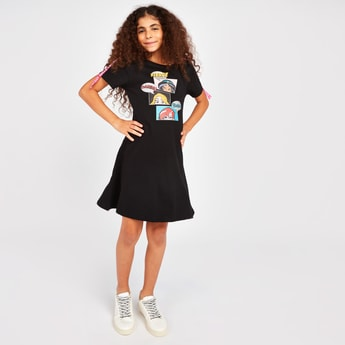 Princess Squad Print Dress with Short Sleeves