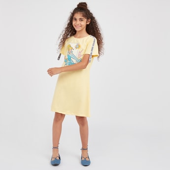 Cinderella Print Dress with Short Sleeves