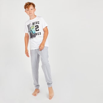 Car Print Short Sleeves T-shirt with Pyjamas Set