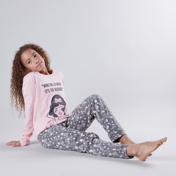 Printed Round Neck T-shirt with Long Sleeves and Pyjama Set