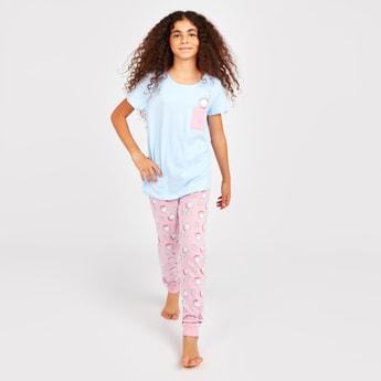 Cat Print Short Sleeves T-shirt and Pyjamas Set