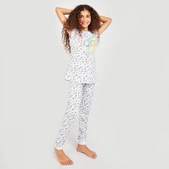All Over Prints Sleeveless T-shirt and Pyjamas Set