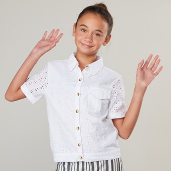Broderie Woven Collared Shirt with Short Sleeves and Patch Pocket