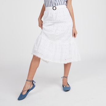 Schiffli Detail Midi Skirt with Belt and Elasticised Waistband