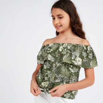 Tropical Print Off Shoulder Top with Front Knot Detail