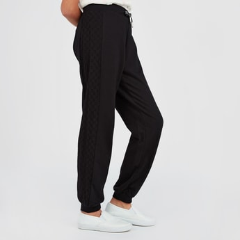 Schiffli Detail Jog Pants with Elasticised Waistband and Drawstring