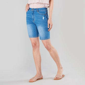 Skinny Fit Distressed Mid-Rise Shorts with Pockets and Belt Loops