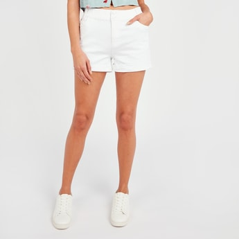 Solid Shorts with Button Closure
