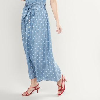 Polka Dot Printed Maxi Skirt with Elasticised Paperbag Waistband