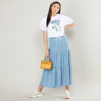 Tiered A-line Denim Maxi Skirt