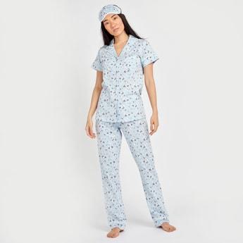Floral Print Shirt with Pyjama and Eye Mask