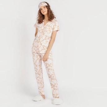 Printed Shirt with Pyjama and Eye Mask