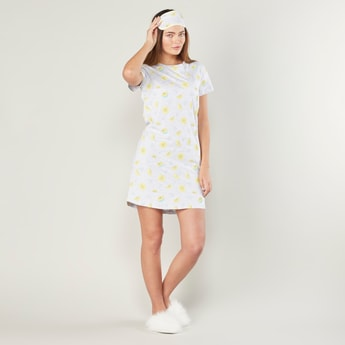 Set of 4 - Printed Sleep Dress with Round Neck and Short Sleeves