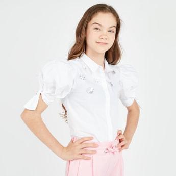 Embellished Poplin Shirt with Short Sleeves