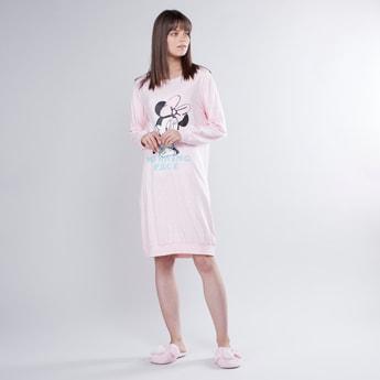 فستان نوم بأكمام طويلة وطبعات ميني ماوس