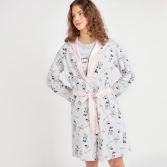 Minnie Mouse Print Robe with Long Sleeves and Tie Ups