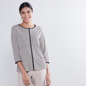 Round Neck Printed Top with 3/4 Sleeves