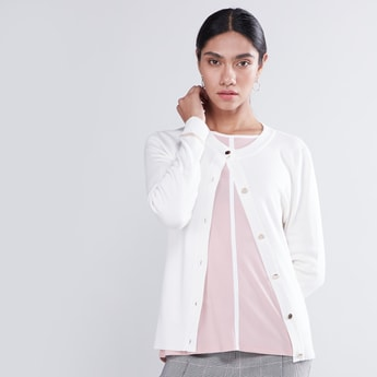 Solid Button Down Cardigan with Ribbed Hems