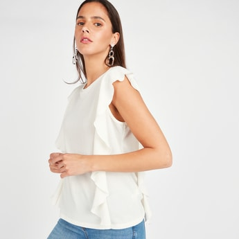 Textured Sleeveless Top with Round Neck and Ruffle Detail