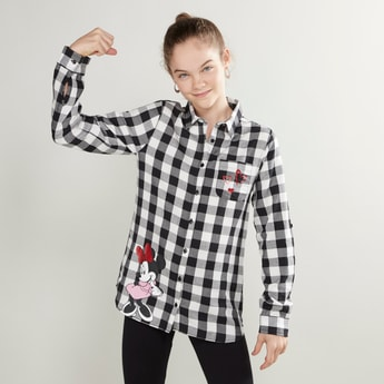 Minnie Mouse Printed Shirt with Spread Collar and Long Sleeves